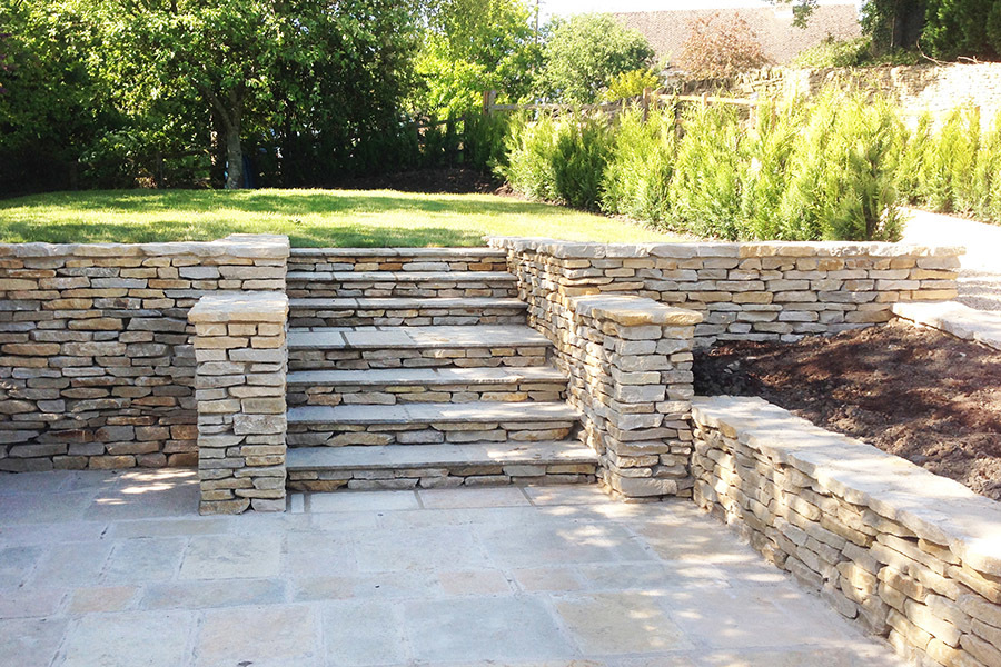 Cotswold Stone Walling Wall Steps Patio Raised Beds