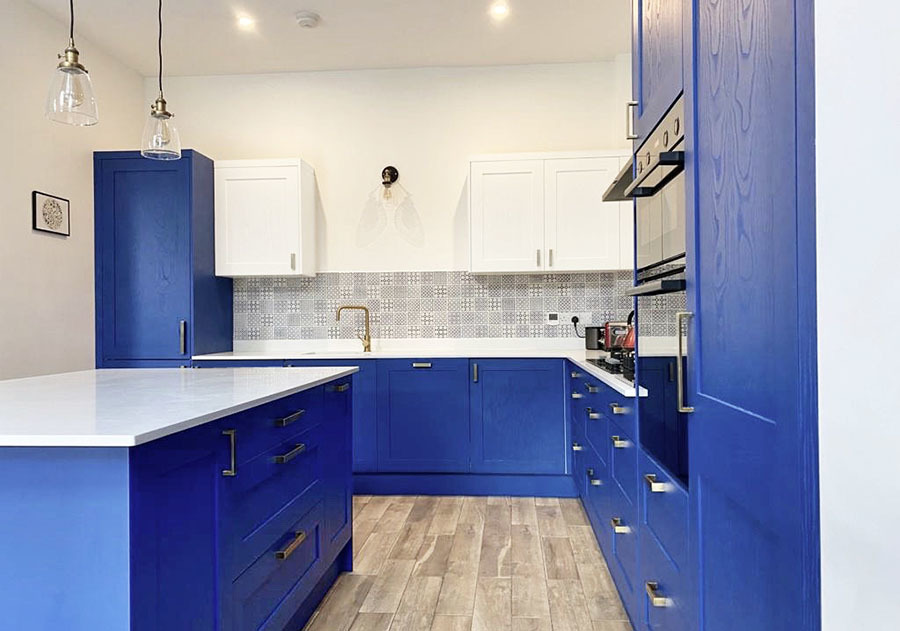 Kitchen Remodel Blue Units Full View