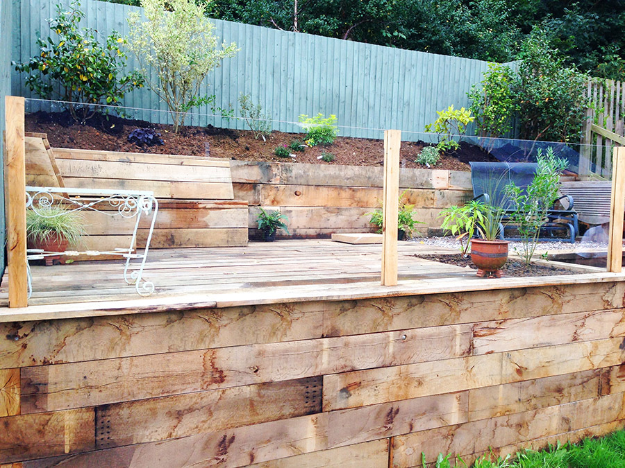 Terraced City Garden Decking Sleeper Wall Built In Seating