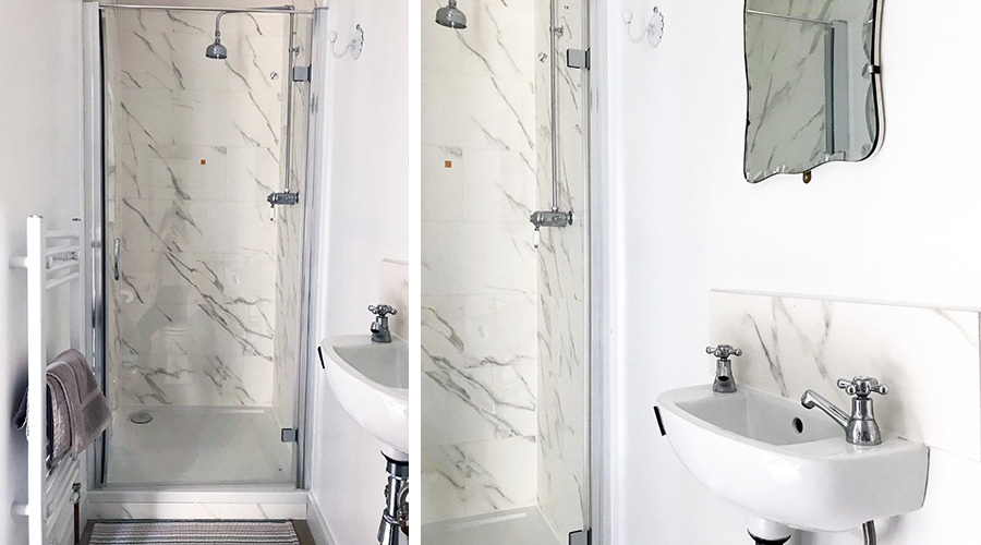 Marble Effect Tiled Ensuite Shower Cubicle Sink